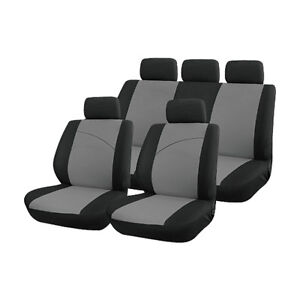 Grey-and-Black-Front-amp-Rear-Car-Seat-Covers-Soft-Plush-Velour-STYLING-CONTRAST