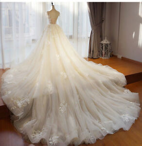 Image Is Loading Champagne Long Sleeves Wedding Dress Detachable Train Bridal