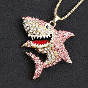 Women-039-s-Pink-Enamel-Crystal-Shark-Animal-Pendant-Chain-Betsey-Johnson-Necklace