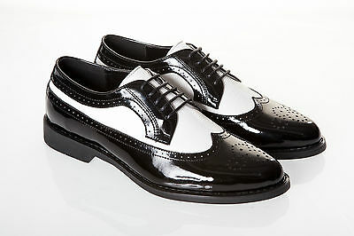 BLACK FRIDAY MENS PATENT BLACK AND WHITE SPATS GANGSTER WEDDING PROM SHOES