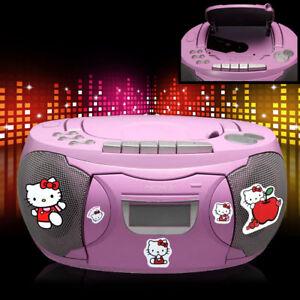 Stereo-CD-Radio-Pink-Girl-Music-System-Case-Boombox-Hello-Big-Light