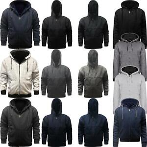 Mens-Fur-Lined-Winter-Hoodie-Jacket-Sherpa-Fleece-Hooded-Top-Various-Designs