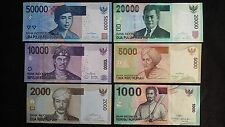 INDONESIA 50000 20000 10000 5000 2000 1000 Rupiah 6 x UNC Banknotes