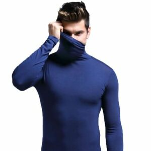 Fashion-Mens-Slim-Fit-Turtleneck-Long-Sleeve-Muscle-Tee-T-shirt-Casual-Tops-USA