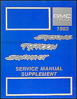 1992 gmc typhoon and sonoma gt shop manual supplement repair service oem  turbo | ebay  ebay