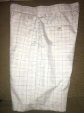 Ben Hogan Performance Golf Shorts White & Blue Plaid Flat Front Size 34 NWOT