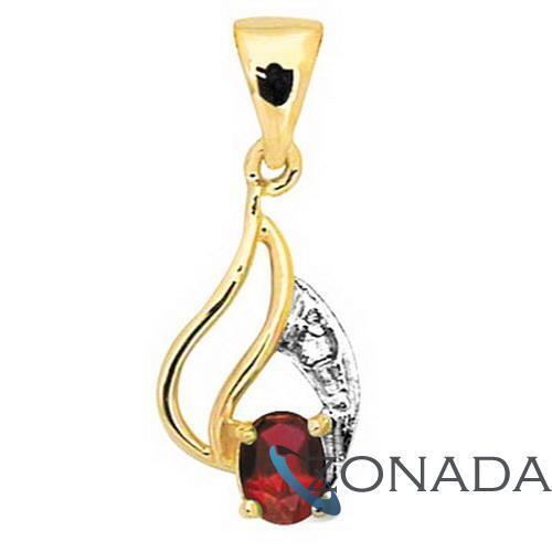4X3mm Red Oval Ruby And Diamond 9ct 9k Solid Yellow Gold Pendant