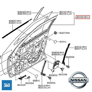 NEW-GENUINE-NISSAN-JUKE-O-S-FRONT-DRIVERS-RIGHT-HAND-DOOR-H010M-1KAMA