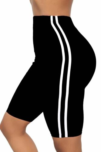 New Women Fancy Cycling Side Stripe Ladies Cotton Active Gym Cycling Short 8-20