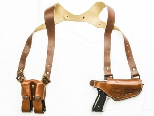 Cebeci Leather Horizontal Tan RH Shoulder Holster w// Dual Mags fits RUGER LC9