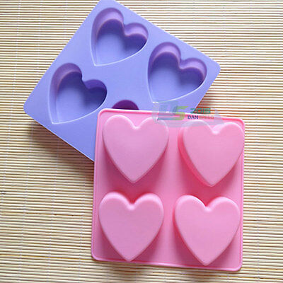 4 Cells Heart Shape Silicone Cake Muffin Baking Mold Jelly Pudding Soap Mold Pan