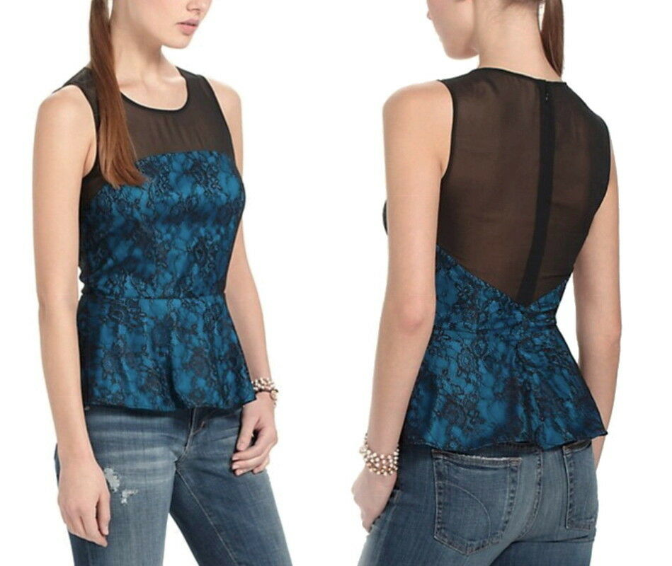 Anthropologie Mesh + Lace Blouse 10 Large Sheer Yoke Super Sexy Top NWT