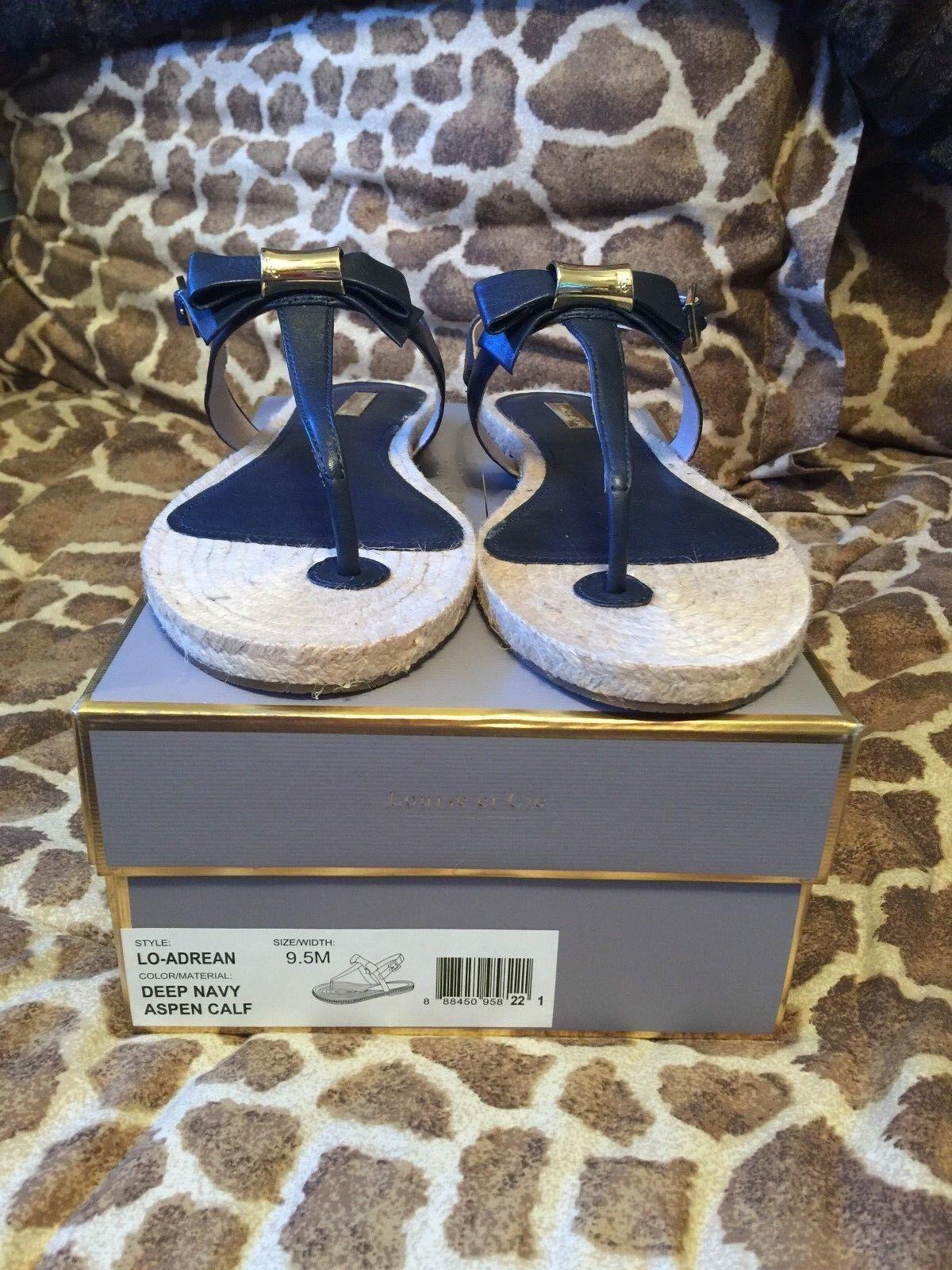NIB Louise Louise Louise et Cie Lo-Adrean Deep Navy Aspen Calf Leather Sandal 9.5M RV  99 3fa74c