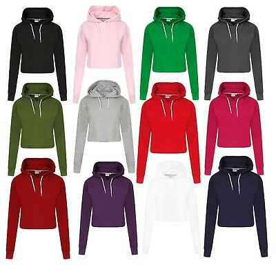 Kompetent New Women's Girls Ladies Plain Pull Over Cropped Hoodie Sweatshirt Size Uk Xs-l