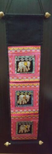 Thai Handmade Fabric Hanging Storage Elephant Style Home Decor Modern Wall Gifts