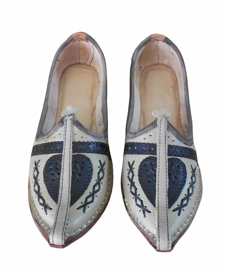 Men shoes Indian Traditional Jutti Leather Espadrilles Flat Mojari UK 8.5 EU 42