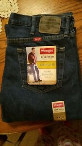 Mens Wrangler 5 Star Relaxed Fit Jeans Premium Denim