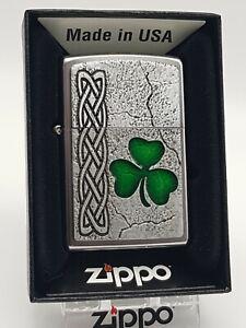 Original Zippo - Irish Shamrock / Kleeblatt - aufgesetzt - 2017 - Neu 2005087