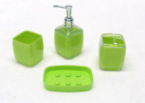 Solid 4 Piece Shine Frost Bath Accessories Set - Lime Green