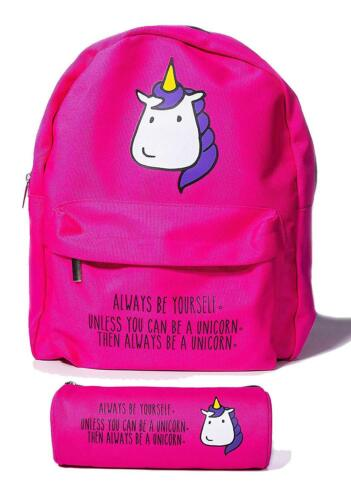 Unicorn Kids Backpack Cute Hot Hot Pink Girls Back To School Lightweight Bag
