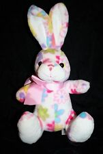 """Animal Adventure Pink Flowers Floral Plush EASTER BUNNY RABBIT 8"""" Bow 2012 Toy"""