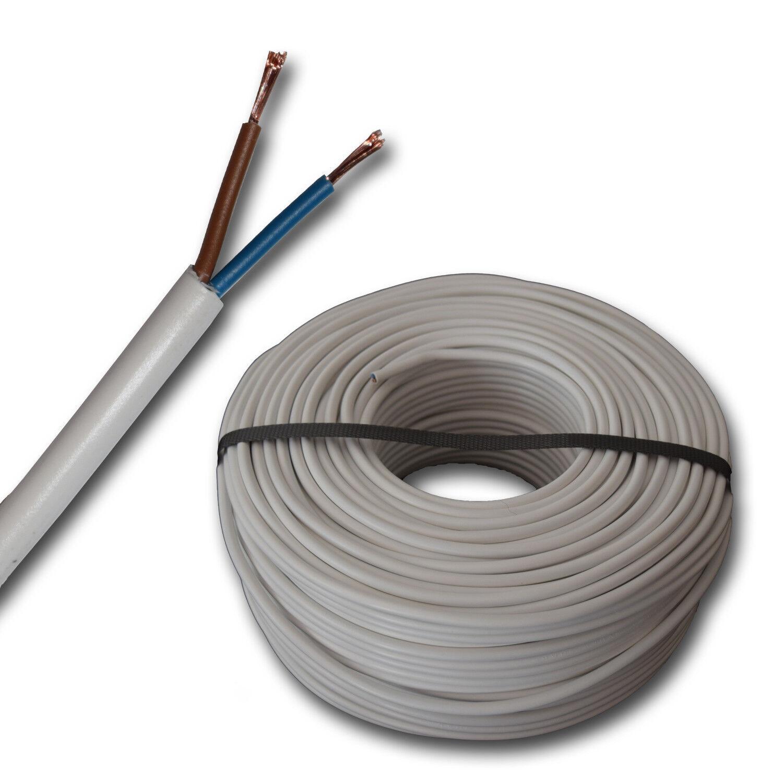 m - Flexible Kunststoff PVC Leitung H05VV-F 2x1,5 mm² weiß 100m H05VVF