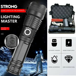XHP50 90000LM Tactical Zoom Flashlight Most Powerful LED Hunting Torch 5 Modes