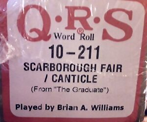 SCARBOROUGH-FAIR-CANTICLE-The-Graduate-Simon-Gar-BRAND-NEW-PIANOLA-PLAYER-ROLL