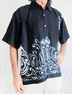 LOUD-BLACK-HAWAIIAN-SHIRT-WITH-IRREGULAR-WHITE-SWIRLS-STAG-NIGHT-HOLIDAY-PARTY