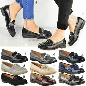Image Is Loading Womens Las Loafers Brogues Pumps Casual School Office