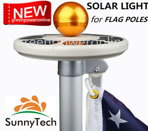 Sunnytech 2017 New 3rd Generation Solar Flag Pole Flagpole Light Latest Upgra