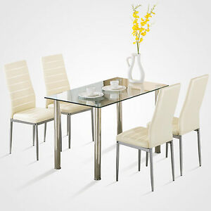 image is loading 5 piece dining table set 4 chairs glass - Breakfast Table With Chairs