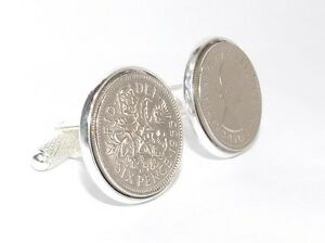 1958 Sixpence Coin Cufflinks Quality Mens 61st Birthday Gift HT