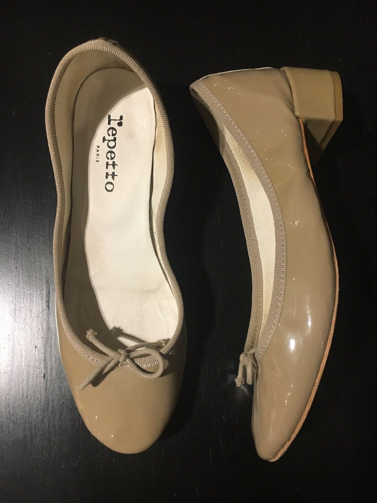 Repetto Camille Patent Leather Ballet Pumps Block Heel Sand Beige 37