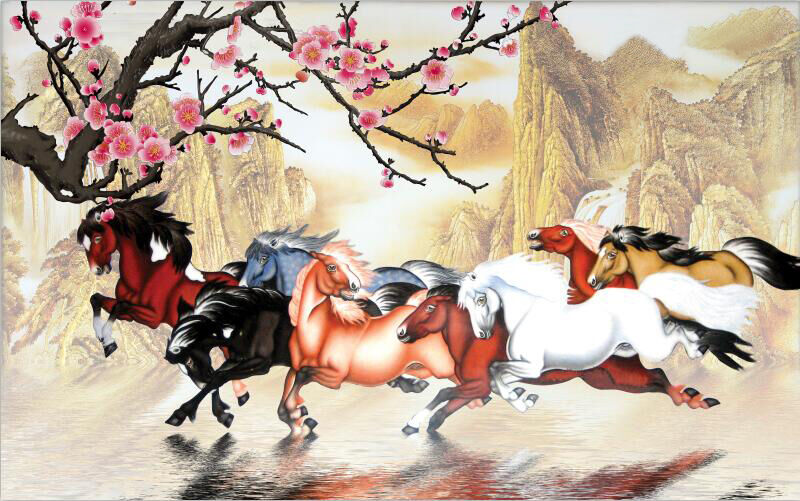 3D Horse painting Flower hill Wall Paper Print Decal Wall Deco Indoor wall Mural