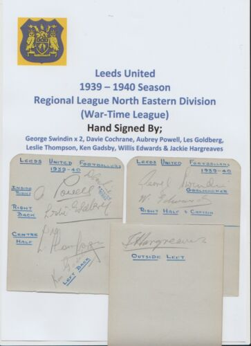 LEEDS UNITED 19391940 RARE ORIGINAL HAND SIGNED 3 X BOOK PAGES 9 X SIGNATURES