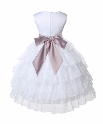 WHITE PAGEANT WEDDING TIERED ORGANZA FLOWER GIRL DRESS 2//2T 3//4 4T 5//6 7//8 9//10