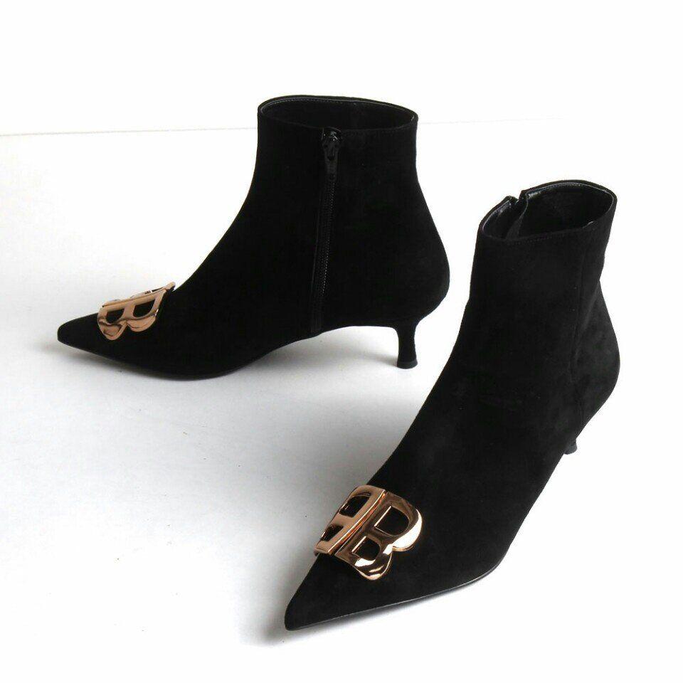 Hecho A Mano Mujer Zapatos Abotinados botas al al al Tobillo de Cuero Gamuza Tacón Gatito BB Negro  para proporcionarle una compra en línea agradable