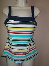 Nautica Womens Striped Tankini Top Sewn in Soft Cup Pads in Shelf Bra