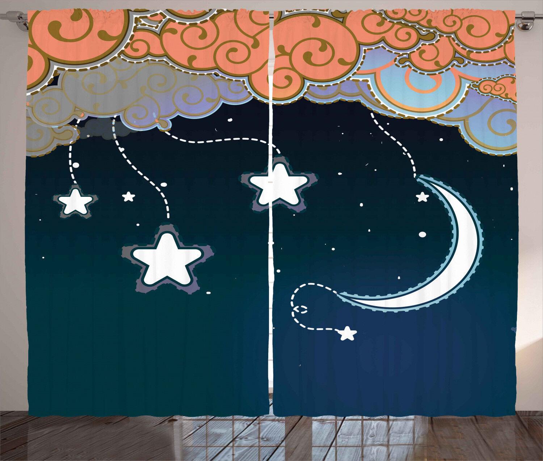 Kids Curtains Cartoon Style Night Sky Window Drapes 2 Panel Set 108x90 Inches