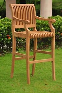 Giva Grade-A Teak Outdoor Garden Patio Arm Bar Chair Stool Furniture New