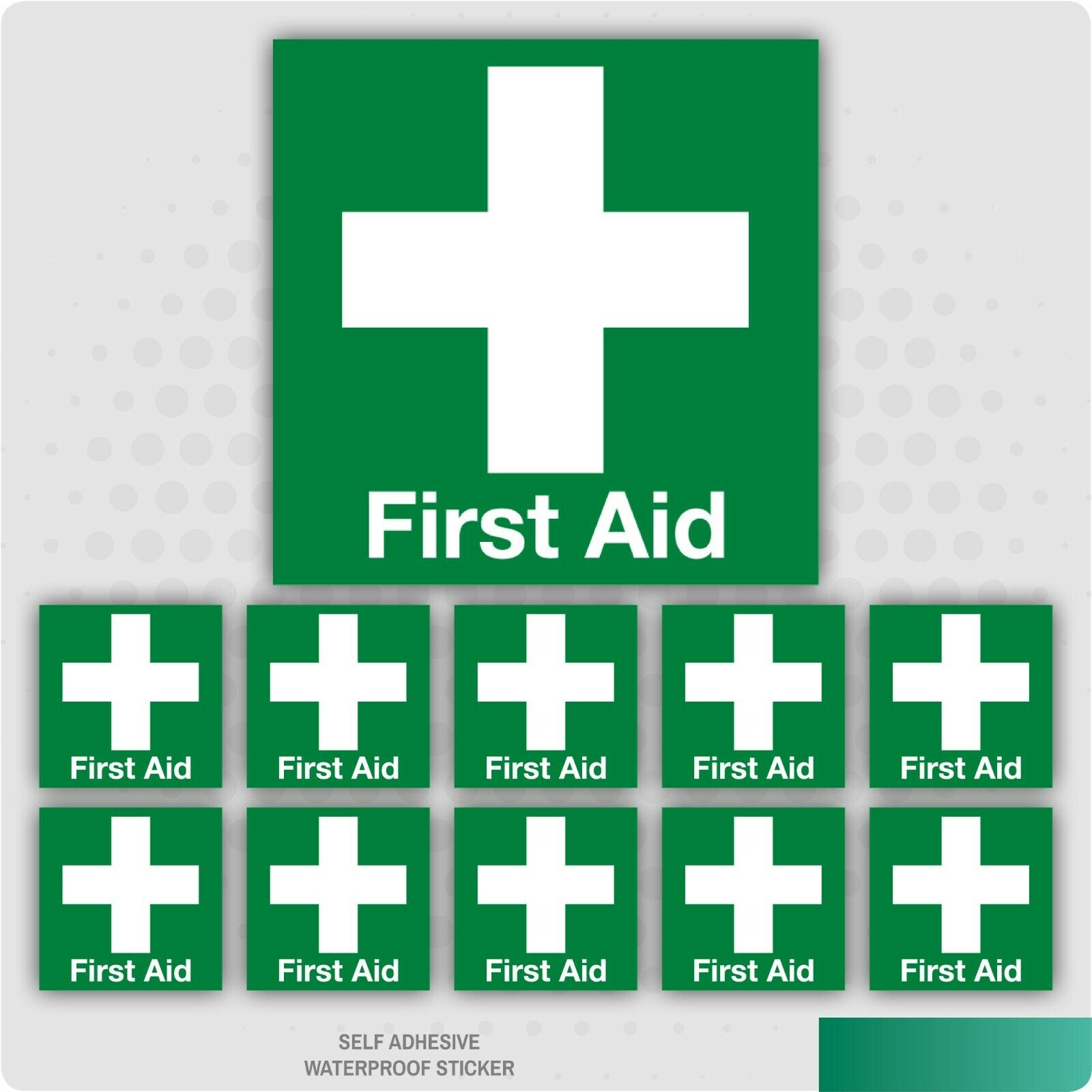 10 x First Aid Helmet Self Adhesive Vinyl Stickers - Health & Safety - Medical