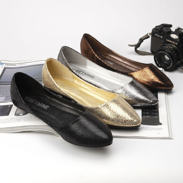 New Womens Shoes Flats Slip On Loafers Fashion Comfy Leather Ballet Single Shoes