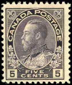 Canada-112i-mint-F-VF-OG-LH-1922-King-George-V-5c-grey-violet-Admiral-CV-42-50