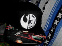 Black Adult Size Star Wars Embroidered Rebel And Empire Symbol Snapback Hat