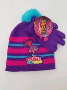 Details about  /DreamWorks Girls Trolls Purple /& Pink Poppy Knit Stocking Hat /& Gloves Set