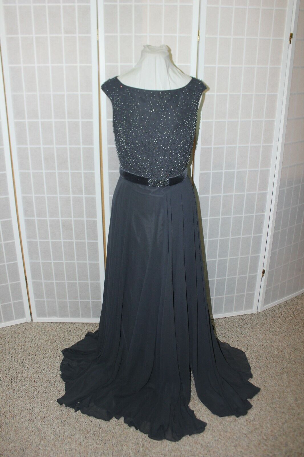 NWT Size 14 Montage by Mon Cheri 215903 Charcoal Velvet & chiffon beaded gown
