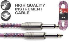 20' Vintage Tweed Pink Cloth Covered Guitar Amp Cable Cord Stagg SGC6VTPK