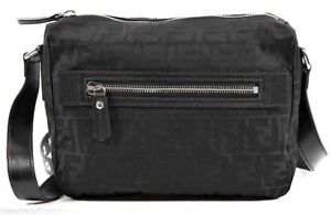 FENDI Men s Small  FF  Logo Messenger Bag Black Zucca Jacquard Nylon ... 57fb022b63353