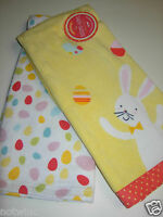 2pc Kohl's Kitchen Dish Towels Decorate W/ Easter Bunny & Eggs Spring Colors